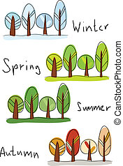 Four seasons - Vector illustration. Four seasons - winter,...