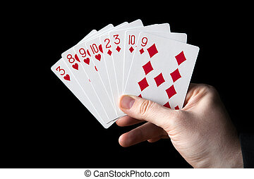 male hand holding a fan of playing cards
