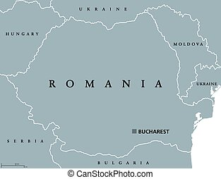 Romania political map with capital Bucharest, national...