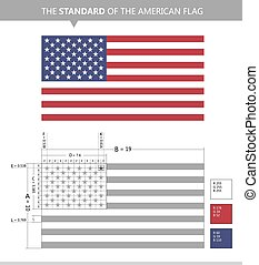 Vector flag of the United States (USA) standard drawing
