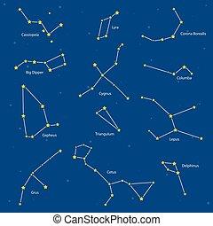 Constellations: cassiopeia, big dipper, cepheus, lyra, grus,...