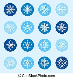 Set of white snowflakes on color backgrounds