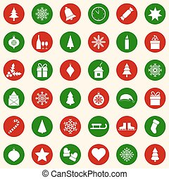 Set of christmas icons on color background, vector illustration
