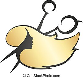 Girl hair and scissors - The girl with golden hair and...