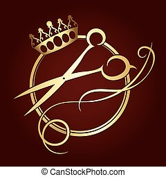 Scissors and a crown of gold color symbol for beauty salon