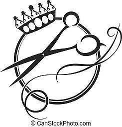 Scissors and crown silhouette of a beauty salon and barber...