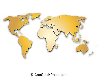 Golden world map silhoutte. Metal like design with shadow on white background