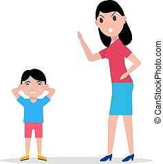 Vector cartoon angry mother scolding her child - Vector...
