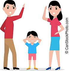Vector cartoon angry parents swearing child - Vector...