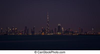 Skyline of Dubai at night