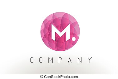 M Letter Logo Design with Circular Purple Pattern.