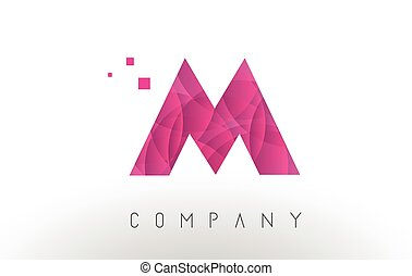 M Letter Logo Design with Purple Dots Pattern.