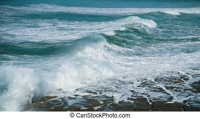 Slow Motion Ocean Waves Incoming on Shore, storm weather