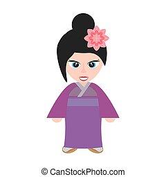cute girl chinese kimono sakura flower