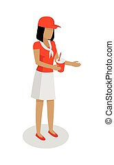 Woman in Red and White Uniform Sales Cola. Vector - Street...