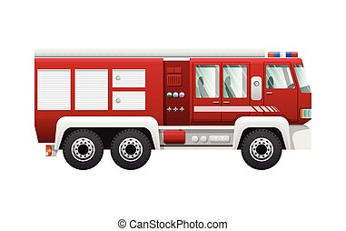 Transport. Isolated Red Fire Truck on Six Wheels -...