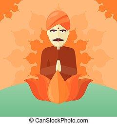 Indian Man Isolated on Round Ornate Mandala. - Indian man...
