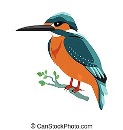 Kingfisher Flat Design Vector Illustration - Kingfisher...