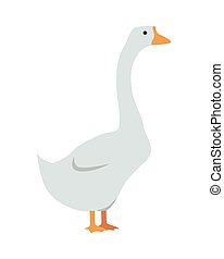 Goose Vector Illustration in Flat Design - Goose flat style...