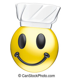 Face smile cook and toque - 3d rendering, smile yellow face...