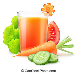 Isolated vegetable juice. Fresh carrot, sliced cucumber and...