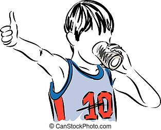 sportif little boy drinking illustration.eps