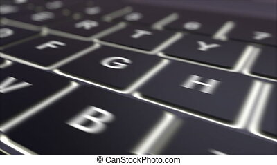 Black computer keyboard and luminous contact key - Tracking...