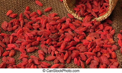 Dried goji berries. Lycium chinense
