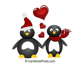 lovely penguin - vector illustration of two penguins with...