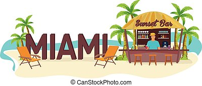 Miami. USA. Travel. Palm, drink, summer, lounge chair, tropical.