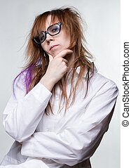 Preachy scientist shaggy woman on gray background