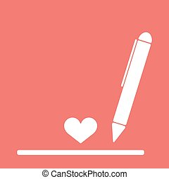 A ball point pen drawing or writing a love letter heart red...