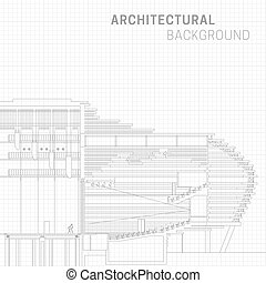 Architectural background. Technical line drawing on white...