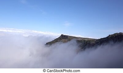 White Clouds Flow in Mountain, Madeira Portugal