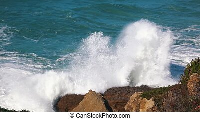 Ocean Waves Incoming on Shore, storm weather