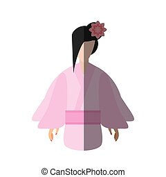 japanese woman traditional dress flower shadow vector...