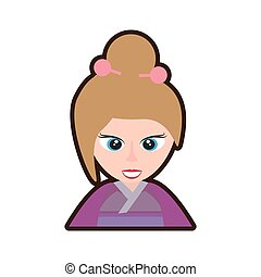 cartoon cute girl chinese kimono sakura flower vector...