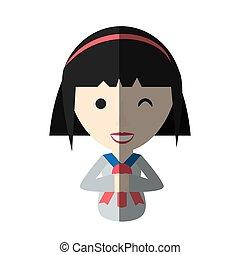 ragazza, uniforme, uggia, STUDENTE, giapponese