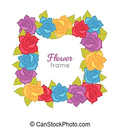Squar Wreath of Different Blossoms. Vector