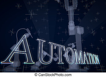 Abstract concept 'Automation' illustrated with industrial robots, 3D rendering