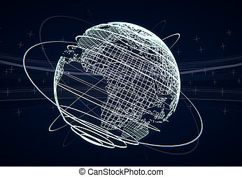 Futuristic world globe illustration with networked lines as...