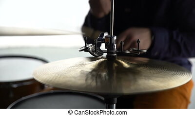 The drummer plays the drums. Medium Shot 4K