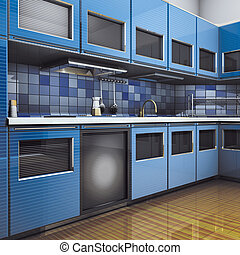 Kitchen blue modern