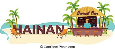 Hainan, China. Travel. Palm, drink, summer, lounge chair,...
