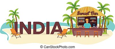 India. Travel. Palm, drink, summer, lounge chair, tropical....