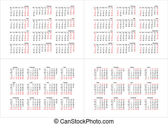 simple 2011 calendars set vector - set of 4 simple vector...