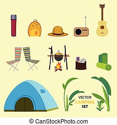 Flat Camping Elements Collection - Flat camping elements...