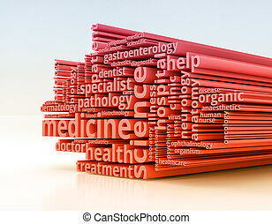 concepto of medicine - word cloud with terms about health...