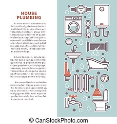 House plumbing vector poster infographics of bathroom and...