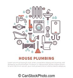House plumbing of bathroom and kitchen vector icons - House...